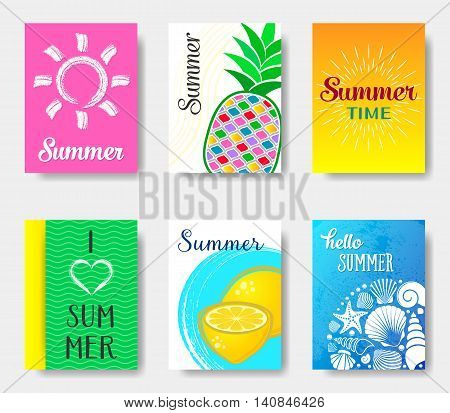 Beautiful vector bright journal summer cards collection