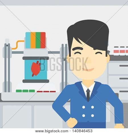 An asian young man standing near 3D printer making a heart on the background of laboratory. Man working with 3D printer. Vector flat design illustration. Square layout.