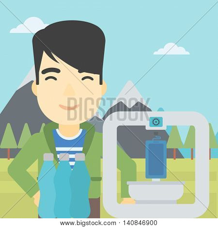 An asian young man standing near 3D printer on the background of mountains. Three D printer making a smartphone using recycled plastic bottles. Vector flat design illustration. Square layout.
