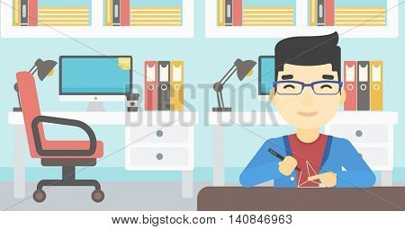 An asian young man making a model with a 3D pen. Man drawing geometric shape by 3d pen. Man working with a 3d-pen. Vector flat design illustration. Horizontal layout.