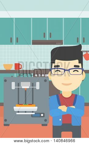 An asian young man working with three D printer making pizza on background of kitchen. Man with crossed arms standing near 3D printer. Vector flat design illustration. Vertical layout.