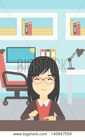 An asian young woman making a model with a 3D pen. Woman drawing geometric shape by 3d pen. Engineer working with a 3 dimensional pen. Vector flat design illustration. Vertical layout.