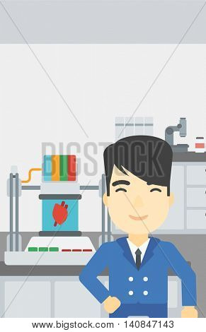 An asian young man standing near 3D printer making a heart on the background of laboratory. Man working with 3D printer. Vector flat design illustration. Vertical layout.