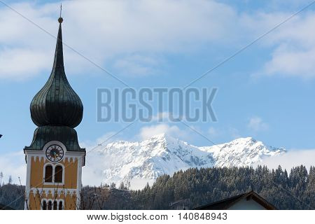 Schladming Steeple with Dachstein Mountains in the background