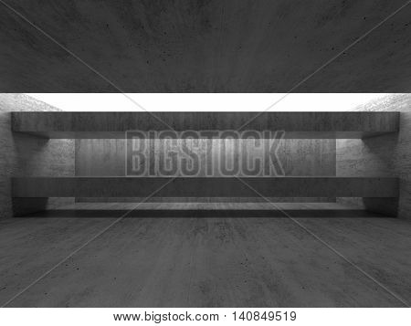 Abstract Empty Black Concrete Interior With Girders