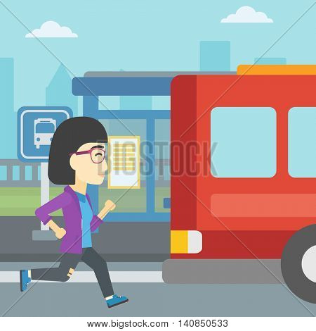 An asian latecomer woman running along the sidewalk to reach a bus. Young woman came too late at bus stop. Woman chasing a bus. Vector flat design illustration. Square layout.