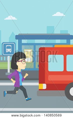 An asian latecomer woman running along the sidewalk to reach a bus. Young woman came too late at bus stop. Woman chasing a bus. Vector flat design illustration. Vertical layout.