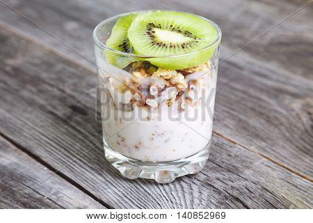 Healthy Breakfast With Yogurt And Muesli, Selective Focus