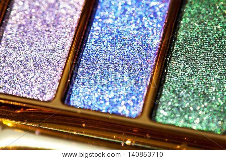 Glitter colored eye shadow palette make up