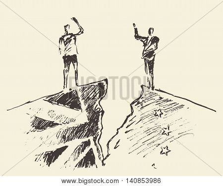 Sketch for Brexit and UKs EU referendum. People standing on cracked ground. Vector illustration.