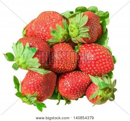 Heap of red ripe strawberry isolated over white