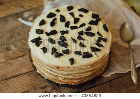 Homemade Delicious Prunes Pie. Fruit Cake Baked,wooden Background