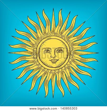 Sun with face engraving vector illustration. Scratch board style imitation. Hand drawn image.