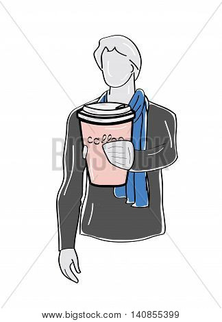 silhouette of a man holding out a cup of coffee. vector illustration