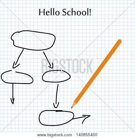 school scheme drawn with a pencil, and the inscription: hello school. vector illustration