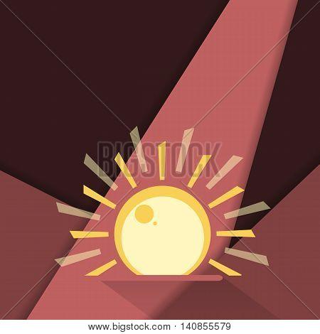 Unusual modern material design vector background. Sunrise over dark background. Geometric shapes. Eps10 vector illustration