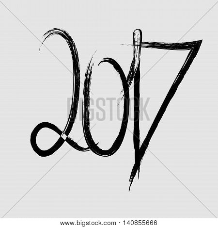 Vector new 2017 year card Booklet with the inscription, the fountain pen for calendar 2017 on a gray background for your design