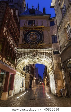 The Great Clock in Rouen. Rouen Normandy France