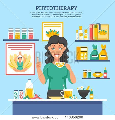 Alternative medicine flat vector illustration with young woman figure holding cap of herbal tea in center and shelves of phytotherapy drugs