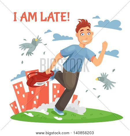 Late teenager running to school and disturbing the birds at urban landscape background cartoon vector illustration