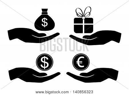 Vector icon money in hand. Money symbol black silhouette. Business icon set