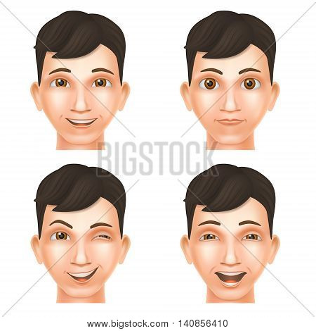Face of young man expressing different glad emotions. Smile wink laugh emotions. Vector mesh Illustration. Set of four heads.