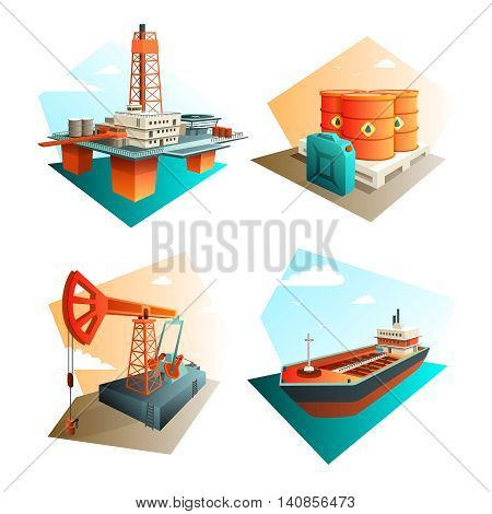 Petroleum industry 4 isometric icons square with extraction refining and transportation oil fuel gasoline isolated vector illustration