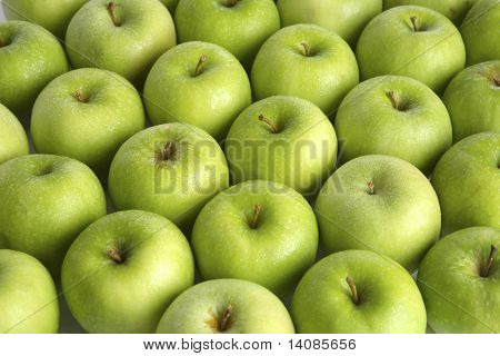 Background of green apples