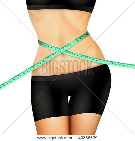 Slim fitness woman body in black shorts and top with measuring tape on white background realistic vector illustration