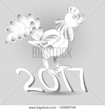 Drawing horoscope Year of the Rooster Vector illustration of horoscope year rooster bird stands on year numbers image is made in the style of applique paper