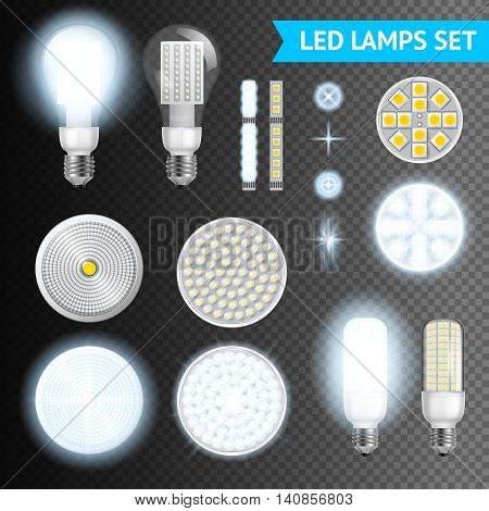 Realistic turned on and off led lamps and lights effects of different size and shape set isolated on transparent background realistic vector illustration