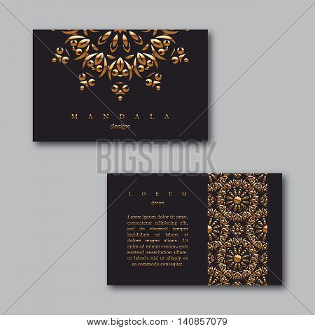 Set of ornamental business golden cards with mandala and pattern visiting template cards. Vintage decorative elements.Indian asian arabic islamic ottoman motif. Vector illustration.