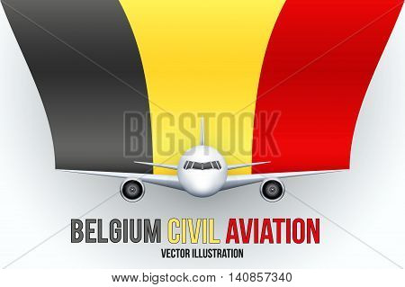Front view of Civil Aircraft with flag of Belgium. Public or private plane. For business and travel design. Vector Illustration isolated on background.