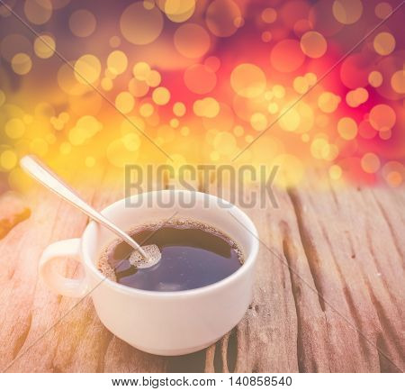 Hot Coffee On Old Wooden Background. Vintage Picture Style.