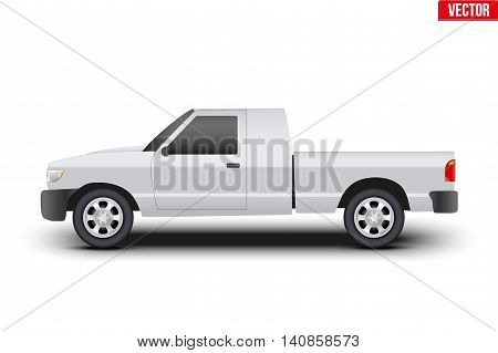 Original classic Pickup truck. Business design of cargo transportation and service. Editable Vector illustration Isolated on background.
