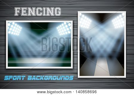 Set Backgrounds of fencing arena and stadium. Horizontal and vertical orientation. Editable Vector Illustration.