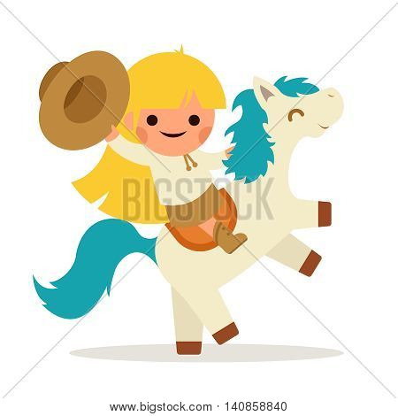 Little Happy Girl Ride Horse Pony Cowboy Cowgirl Waving Hat Symbol Smiling Child Concept Isolated Flat Design Vector Illustration