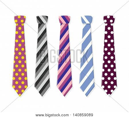 Set neck ties for business and casual attire. Tie in flat style isolated on white background.