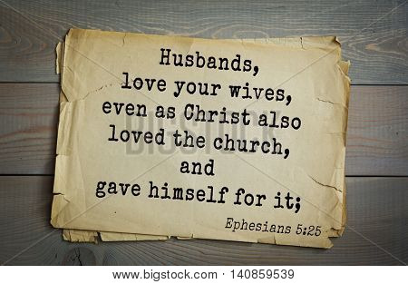 Top 500 Bible verses.Husbands, love your wives, even as Christ also loved the church, and gave himself for it;