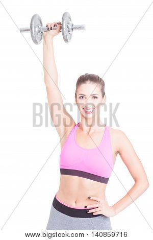 Fit Young Female Holding Weight Up Over Head