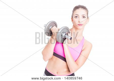 Fit Girl Holding Heavy Weight Looking Bored