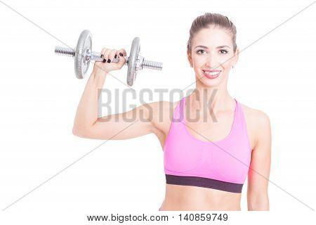 Female Trainer Holding Up One Heavy Dumbbell