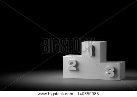 3D rendering of sport award podium on black.