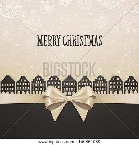 Vector Illustration of a Christmas City Design with Bow