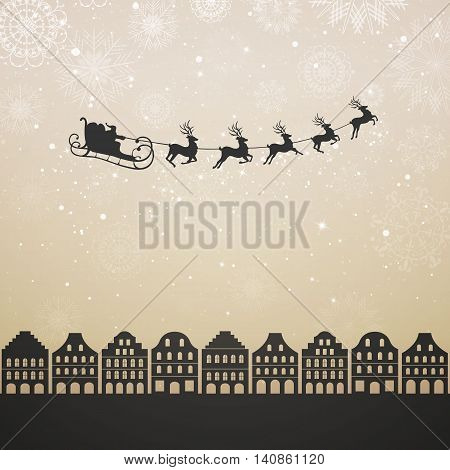 Vector Illustration of Santa Claus Flying over City. Christmas Design.