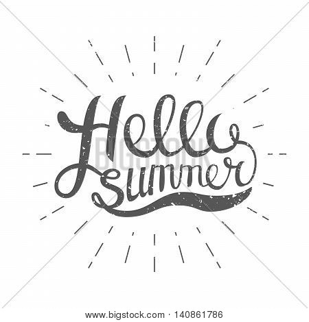 Hello Summer vector illustration isolated on white background. Fun quote. Hand lettering inspirational typography poster with rays. Handwritten banner, logo, label or badge.