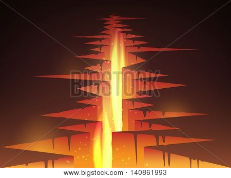 Cracked hole in ground with lava or magma and fire vector illustration