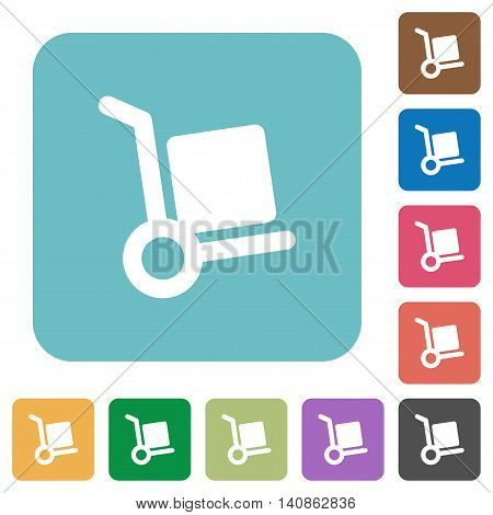 Flat parcel delivery icons on rounded square color backgrounds.
