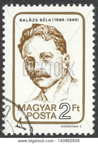 MOSCOW RUSSIA - CIRCA APRIL 2016: a post stamp printed in HUNGARY dedicated to the 100th Anniversary of the Birth of Bela Balazs circa 1984