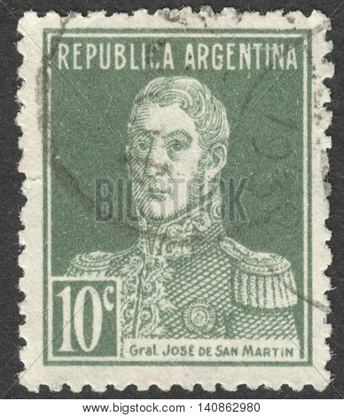 "MOSCOW RUSSIA - CIRCA APRIL 2016: a post stamp printed in ARGENTINA shows a portrait of General San Martin the series ""General San Martin"" circa 1923"
